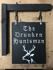 Hanging Wooden Sign With Bracket Home Bar Pub Man Cave Shed Garage Personalised