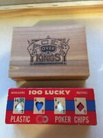 NEW! Aces Over Kings Playing Cards in Wood Box PLUS Vintage 100 LUCKY poker chip
