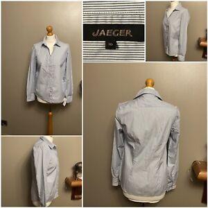 ladies blouse/shirt jaeger long sleeve classy strips design size 10 cotton