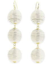 White and silver striped ball drop Earrings 18k Gold Plated New Womens Jewelry