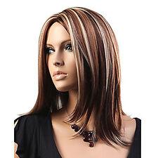 FR_ EG _ pour femmes Medium Mélange blonde brune LISSE Cosplay cheveux