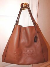 Coach Leather Large Edie Shoulder Bag w/ Embossed Horse and Carriage - EUC