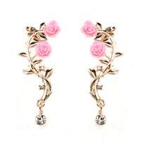Pink Lady Gold Rose Leaf Flower Crystal Ear Stud Cuff Earring Women Jewelry Gift