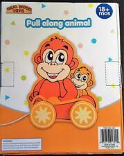 Pull Along Animal by Homeware  Monkey  REAL WOOD TOYS