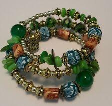 Bohemian Beads Natural Stones Tibet Crystal  Multi Layer Wrap Bracelet Green