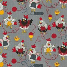 Knitting Chickens Allover Grey Cotton Quilting Fabric 1/2 YARD