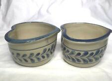 Cracker Barrel Pottery Made from Scratch Blue Leaf Heart shaped soup bowls