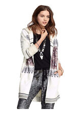 New $298.00 Free People Women's Full Zip Hooded Cardigan L Wool Blend  Ivory NWT