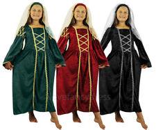 GIRLS TUDOR PRINCESS FANCY DRESS COSTUME MEDIEVAL QUEEN CHILDS DRESS & HEADPIECE