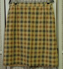BIANCA Vintage Plaid Pencil Skirt XL EU46 34″W Green Yellow Pumpkin Check Lined