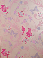 New Pink/Lilac Fairy Princess Butterfly Floral Wallpaper girls