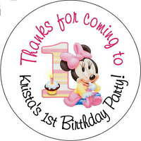 24 Baby Minnie Mouse Girls  stickers Birthday Party 2.5 Inch Personalized 1st