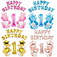 """First 1st Birthday Number 1 Boy Girl baby Balloons Party 16"""" Foil Happy Birthday"""