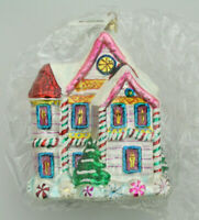 "CHRISTOPHER RADKO - 7"" LARGE - CANDY COATED CHRISTMAS HOUSE ORNAMENT - 00-210-00"