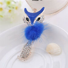 Fashion Fox Necklace Pendant Girls Crystal Collare Long Sweater Link Chain Women