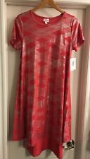 Lularoe Carly Dress Small Red Coral Silver Stripes Diamonds Elegant Collection🦄