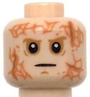 Lego New Light Flesh Minifigure Head Male Scars Front and Back White Pupils