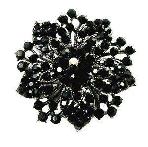 Brooch Elegant Black Rhinestone Crystal Flower Brooch - Mothers Day Gift