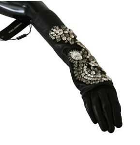 DOLCE & GABBANA Gloves Leather Black Crystal Elbow Mittens s. 7.5 / M RRP $1800