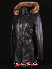 Button Leather Women's Hood