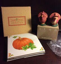Vintage 1984 Autumn Pumpkin Tile Ceramic  And Turkey Salt & Pepper Shakers