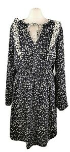 M&S Size 12 Dark Blue White Ditsy Floral Frill Long Sleeve Dress Tie Neck