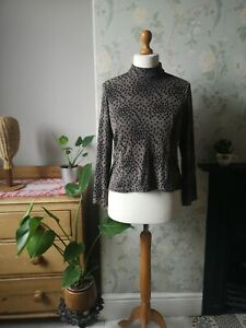 Vintage leopard print Top size 12 14 Japanese clothing retro casual