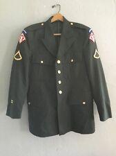 US Army Airborne Dress Green Jacket Uniform Coat 41 Regular Military Vintage
