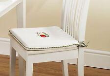 """4 X Apple & peras Verde Rojo con cuadros gingham en cocina Cojín almohadilla de asiento de 16 """"x 16"""""""