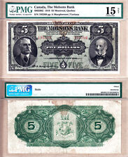 The Molsons Bank 1918 $5 Note. Larged Size Chartered Bank Issue. PMG Choice F15