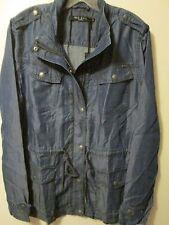 $120 Max Jeans Dark Blue Tencel Denim Look Military Style Long Jacket Sz XL NWT