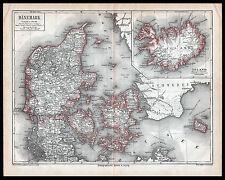 Original  Lithographie-Tafel von 1875 Dänemark Island