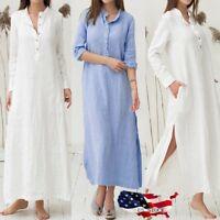 US Women's Kaftan Solid Cotton Linen Long Sleeve Plain Casaul Oversized Dress
