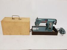 Vintage Fleetwood 750 Deluxe Tiffany Blue Sewing Machine in box