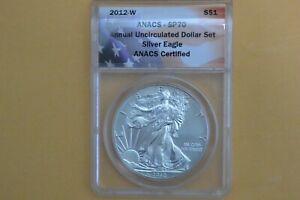2012 W $1 (Burnished) Silver Eagle Annual UNC Dollar Set ANACS SP70