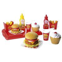 Multi Colour Fast Food Hamburger Set Kids Pretend Fun Play Toy 25pc New