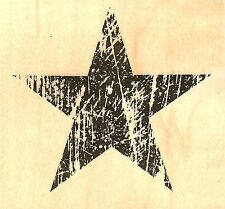 Grunge Star #2 Wood Mounted Rubber Stamp Impression Obsession D13121 NEW