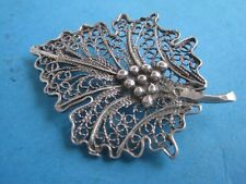 Antique  Brooche in Silver a fig leaf with a bunch of grapes