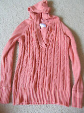 Girl's Justice Sweater Hoodie (Hood) Coral Orange Knit Top Size 16 XL in EUC