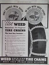1936 Weed Tire Chains Don't Gamble With Death Advertisement