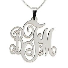 Sterling Silver 1.2″ Inch Monogram Necklace - Personalized Initial Name Pendant