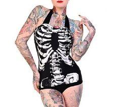 Banned Apparel Skeleton Ribcage Bikini Swimsuit Swim Costume Goth Black XS-XL
