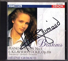 Helene Grimaud firmato Brahms piano Sonata No. 3, 6 Pezzi Pianoforte DENON Giappone CD