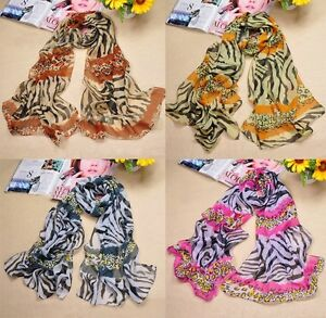 LONG ANIMAL TIGER PRINT SILK CHIFFON SCARF WRAP SHAWL BNIP 4 COLOURS
