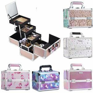 Large Aluminium Vanity Case Make Up Beauty Box Cosmetics Nail Tech Tools Storage