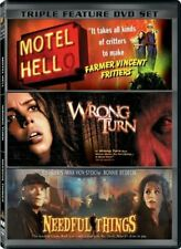 Triple feature Motel Hell-Wrong Turn-Needful Things (DVD, 2008, 3-Disc set) rare