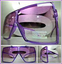 OVERSIZE VINTAGE RETRO SHIELD Style SUN GLASSES Large Square Purple Frame & Lens