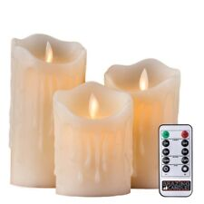 BRAZING CANDLES 3 pc LED Candles, Ivory, with remote, dripping wax look