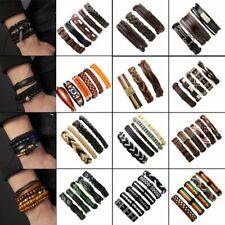 Hot Sale Mens Cuff Bracelet Wristband Bangle Punk Leather Wrap Braided Handmade