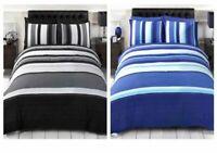 Rapport DETROIT Black or Blue Easy Care Duvet Quilt Cover Bedding Set